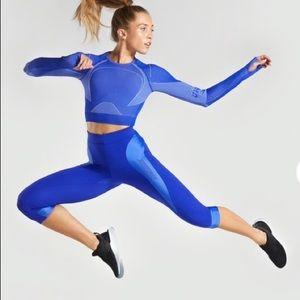 NWT GYMSHARK TURBO CROPPED BLUE COBALT LEGGINGS
